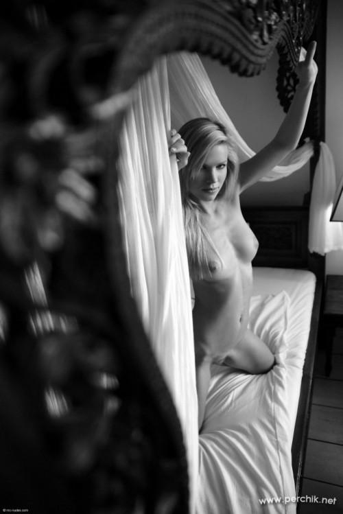 Сексапильная девушка голая на кровати с палантином