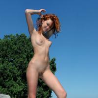 Обнаженная красотка с рыжим цветом волос позирует на природе фото