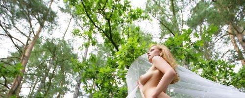 Эротические фотографии девушки, играющейся с прозрачной тканью