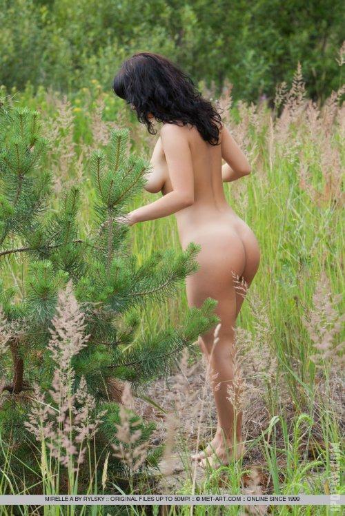 Невинная брюнеточка засветила свои маленькие, аккуратные сиськи, отдыхая на природе