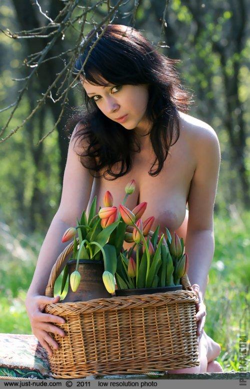 Эротика с тюльпанами и голой красавицей с большими титьками