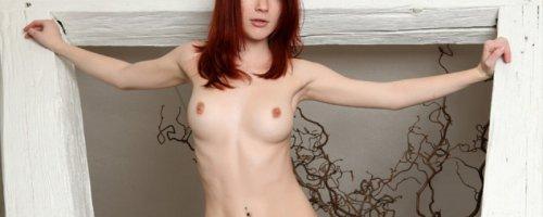 Ню фото сексуальной рыжей обнаженной красотки