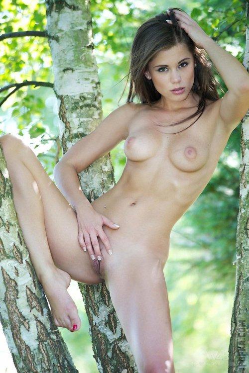 Голая девка светит маленькие сиськи и пизду на откровенной эротической фото сессии
